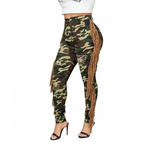 Camouflage Tassel Jeans