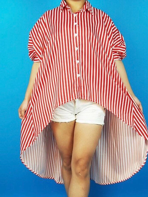Striped Collar Hi Low Top