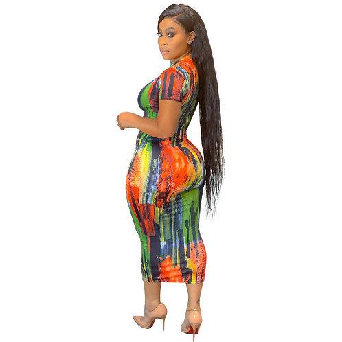 MIDI Tie Dye Colorful Dress
