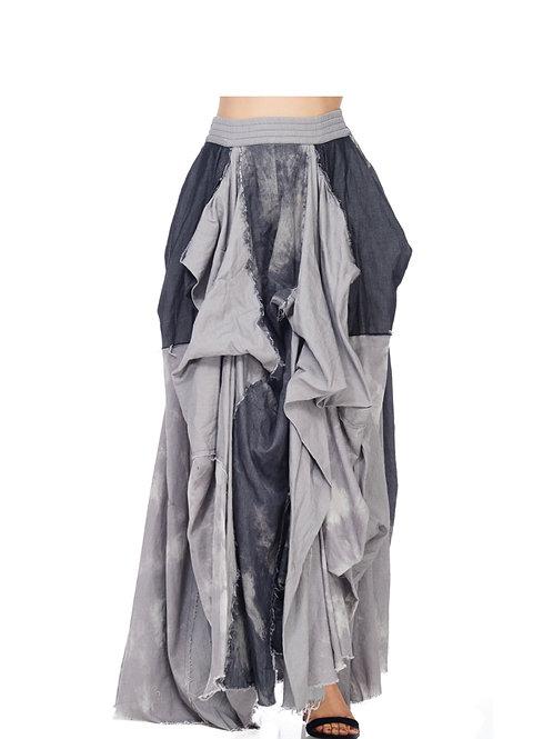 Faded wash denim flow maxi skirt