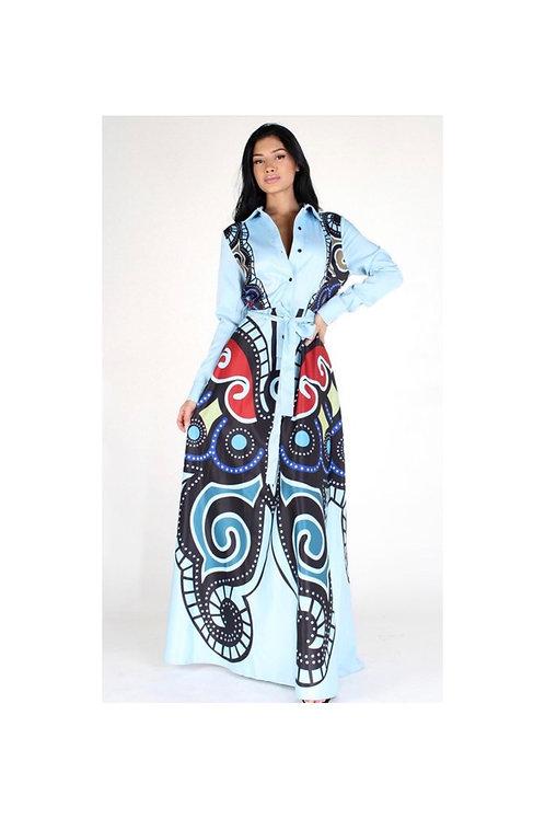 Butterfly Collar Maxi Dress