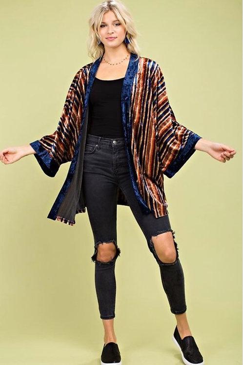 Striped Velvet Kimono