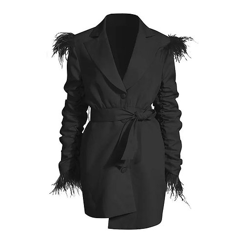 Feather Detail Blazer Dress