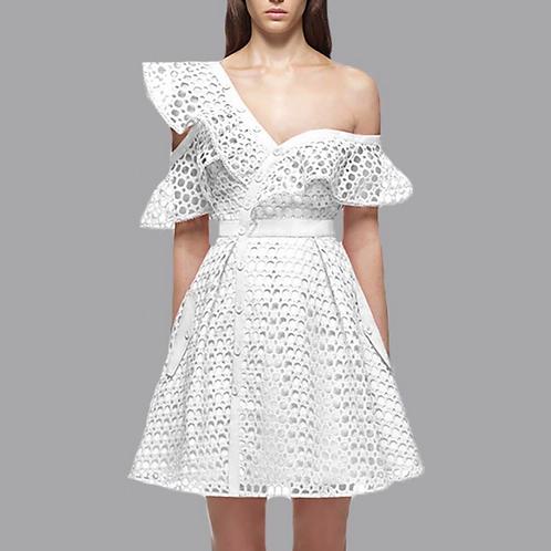 A-line Chrochet Off Shoulder Dress
