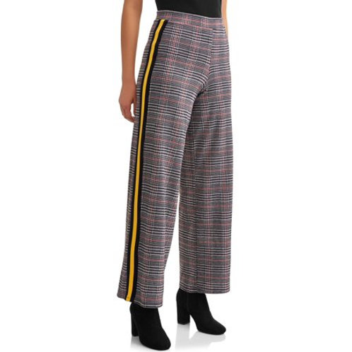 Houndstooth Printed Wide Leg Pants