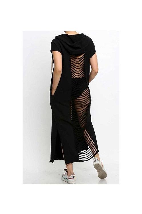 Slit Back Hoodie Dress