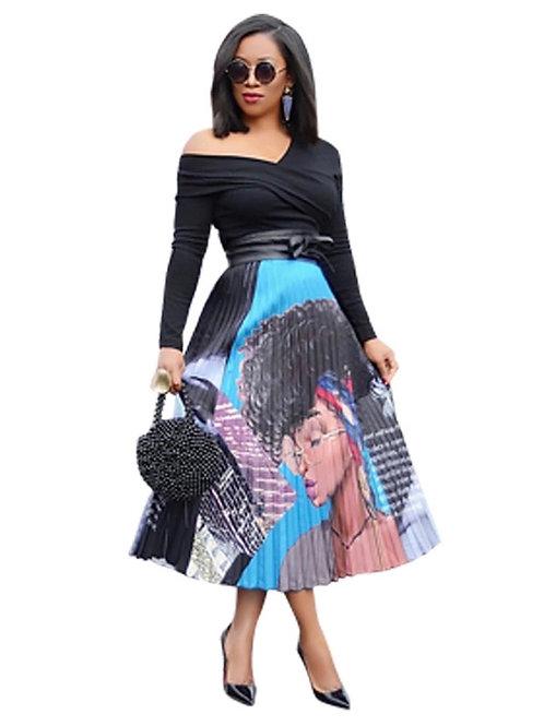 Afro Girl Pleated Skirt