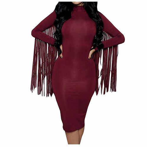 Fringe Sleeve Stand Collar Suede Midi Dress