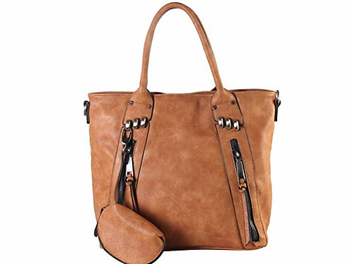 Double Front Zipper Large Tote Bag with One Detachable Coin Pouch