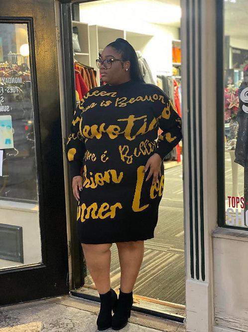 Letter Print Oversized Sweater Dress