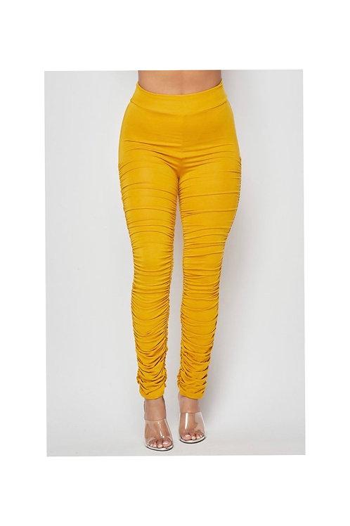 High Waist Shirring Pants
