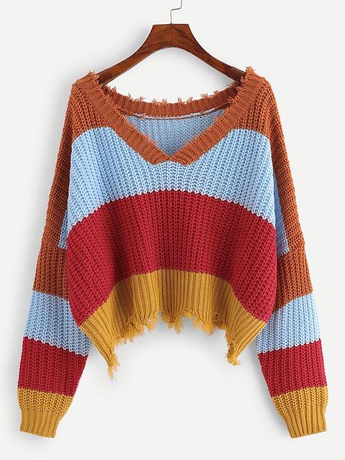 Raw Hem Striped Sweater