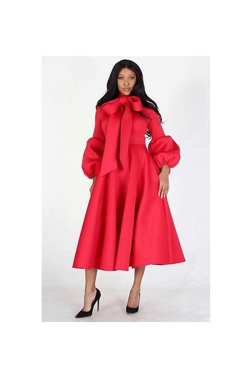 Bow Tie Puff Sleeve Midi Dress