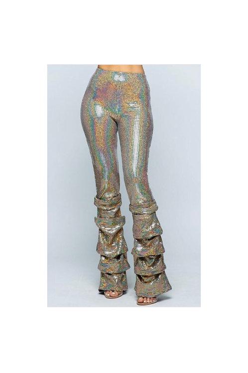 Gold Hologram Sequins Pants