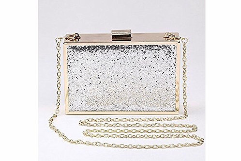 Shiny Glitter Square Clip Clasp Crossbody Evening Clutch
