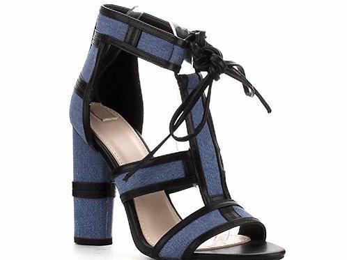 Denim Lace Up Peep Toe Block Heel Sandal