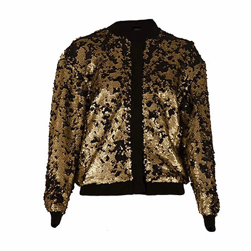 Sequins Fitted Zipper Jacket