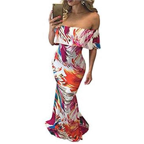 Off Shoulder Print Bodycon Maxi Dress