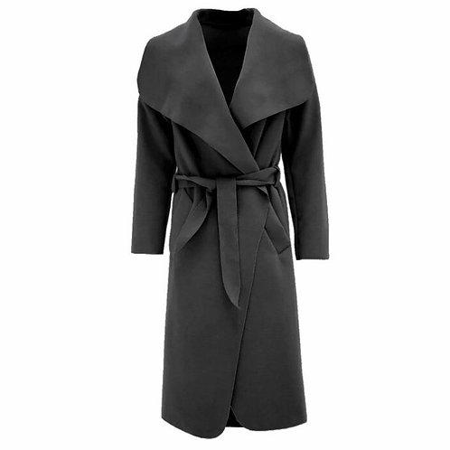 Celeb Long Sleeve Wrapped Up Draped Belted Coat Cape