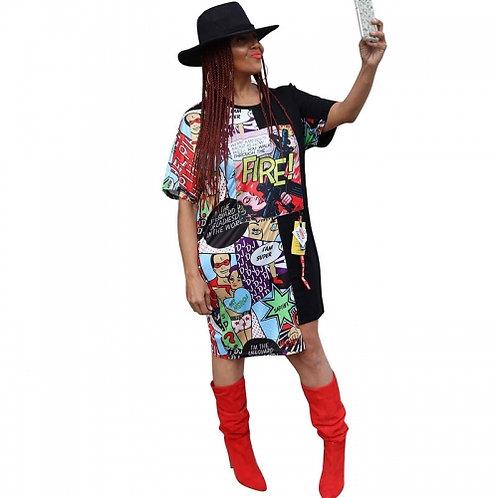 Comic Irregular Shirt Dress