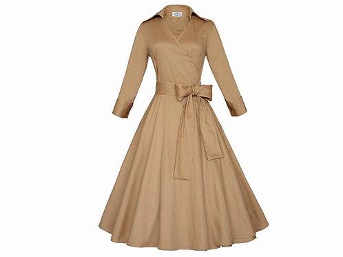 Vintage Bow Belted Swing Dress