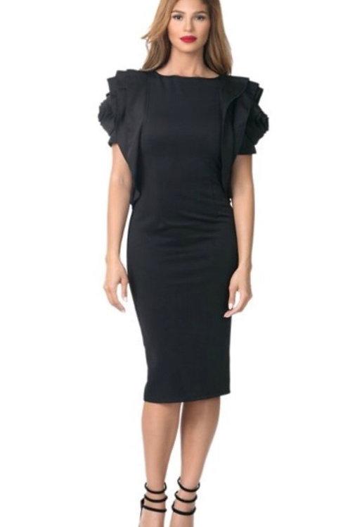 Ruffle Detail Sleeve Dress