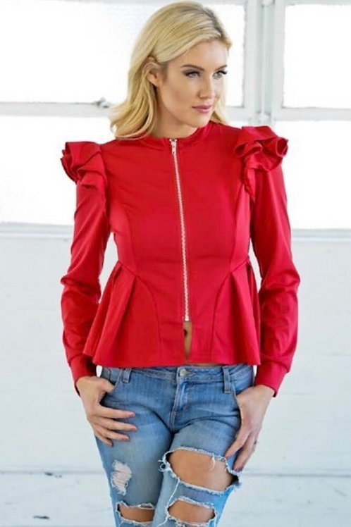 V Ruffle Shoulder Jacket