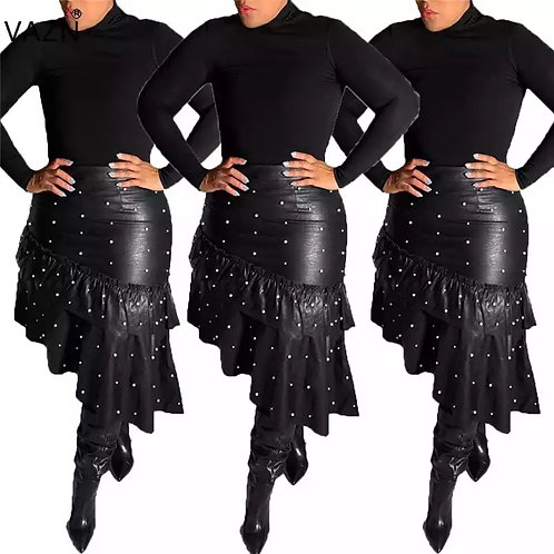 Pearl Asymmetrical Faux Leather Skirt