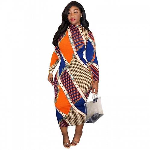 Bodycon Print Midi Dress