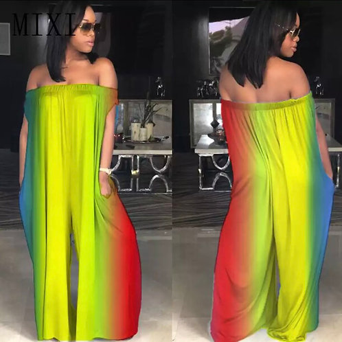Colorful Off Shoulder Wide Relax Jumpsuit