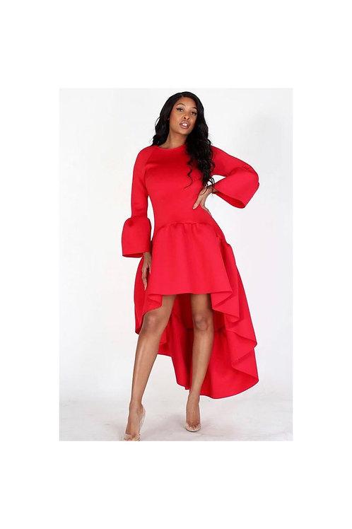 Bell Sleeve High Low Dress