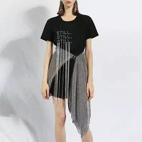 Rhinestone Tassel Letter Skirt Set