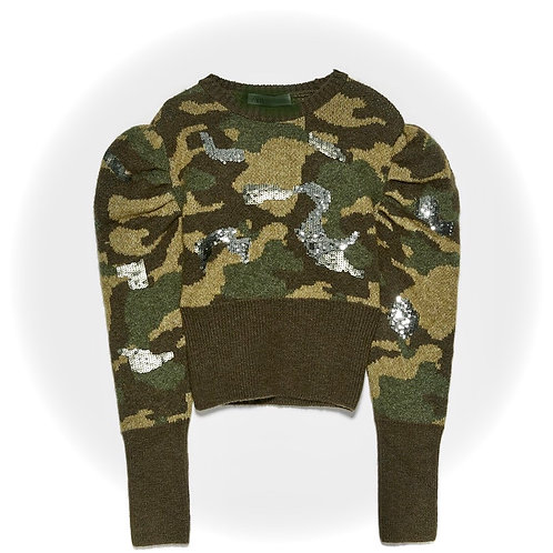 Camouflage Sequins Sweater