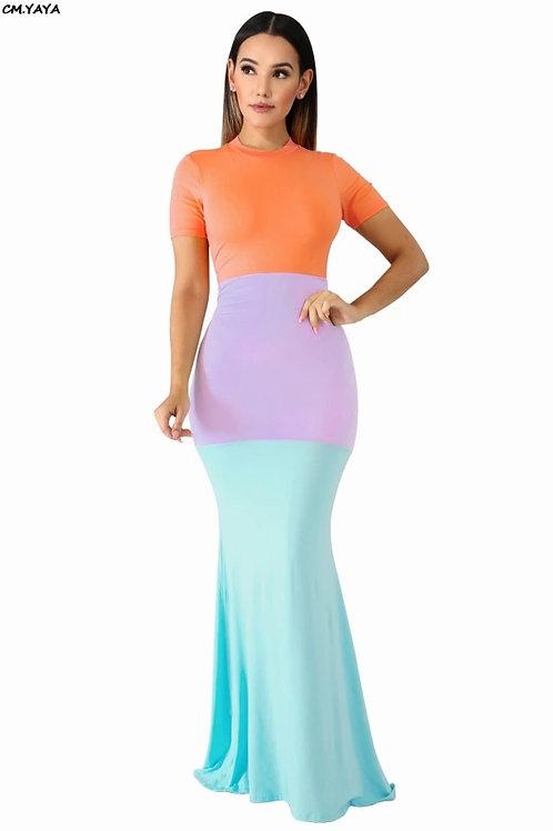 Color Blocked Maxi Dress