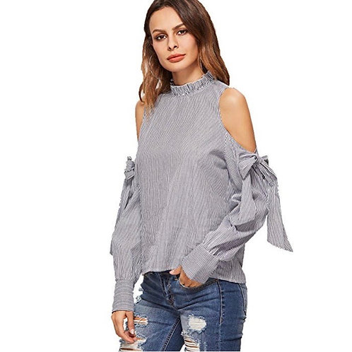 Striped Ruffle Cold Shoulder Top