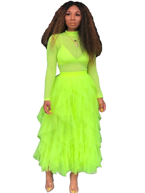 Bohemian Neon Mesh Skirt