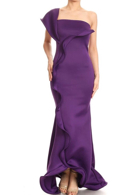 Ruffle One Shoulder Gown