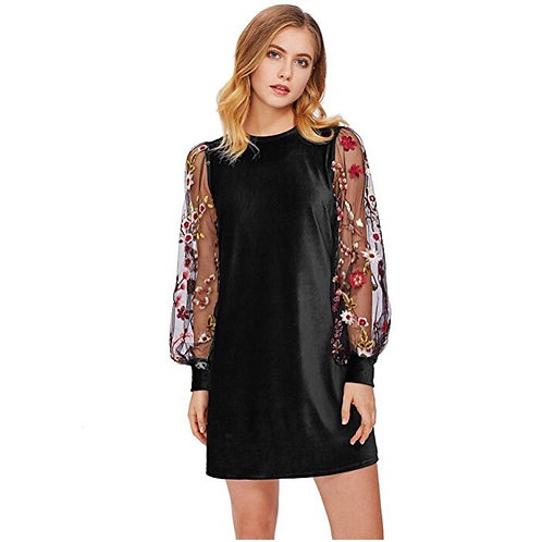 Floral Embroidered Velvet Tunic