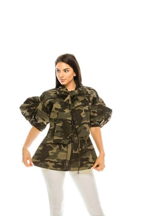 Camouflage Puff Shoulder Jacket