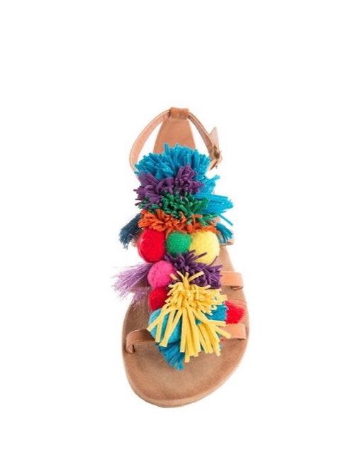 Multi Color Pom Sandals