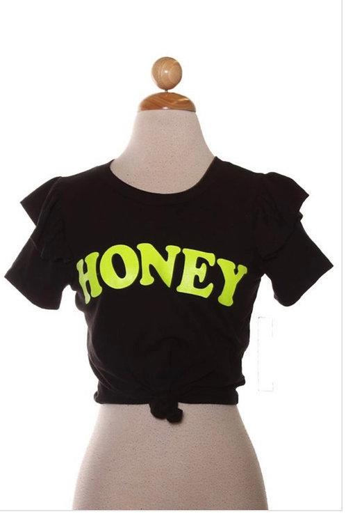 Ruffle Shoulder Honey Tee