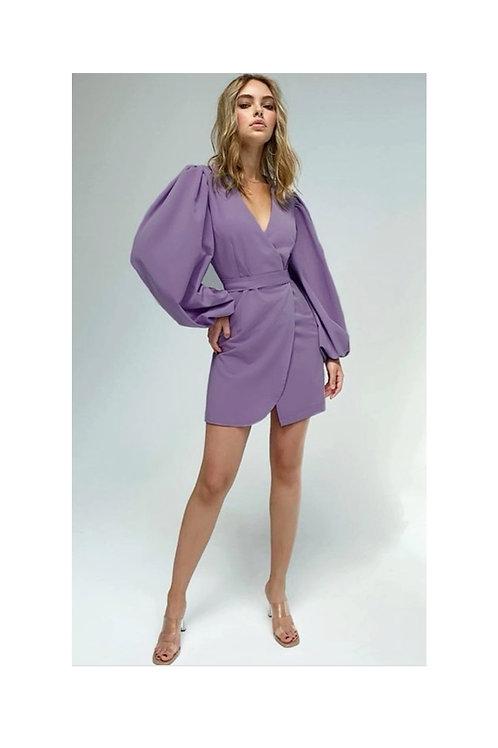 Lantern Sleeve faux wrap dress
