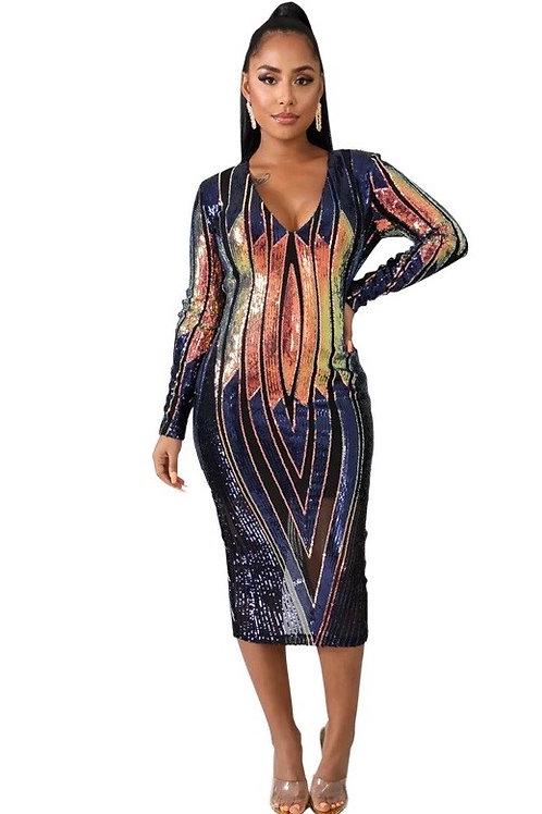 Sequins Mesh Sexy Midi Dress