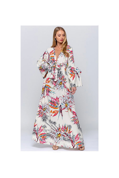 Printed Tie Up Maxi Dress