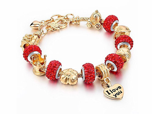 "Chain Glass Crystal Beads ""I Love You"" Charm Beaded Bracelets"