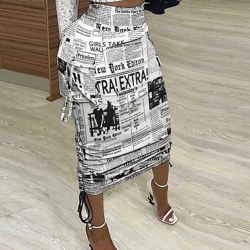 Newspaper Print Drawstring Skirt