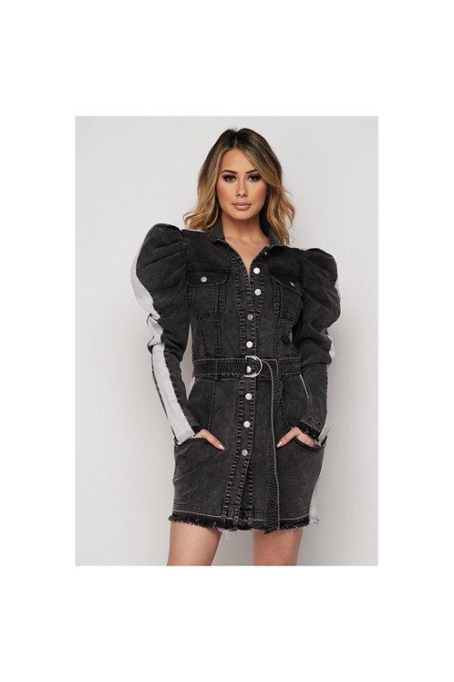 Puffy Shoulder Denim Dress/Jacket