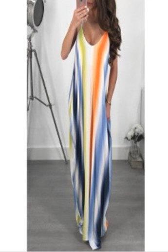 Colorful Stripe Maxi Dress