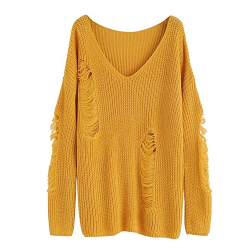 Loose Knitted Distressed Sweater
