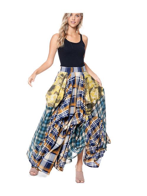 Plaid denim Maxi Flow Skirt